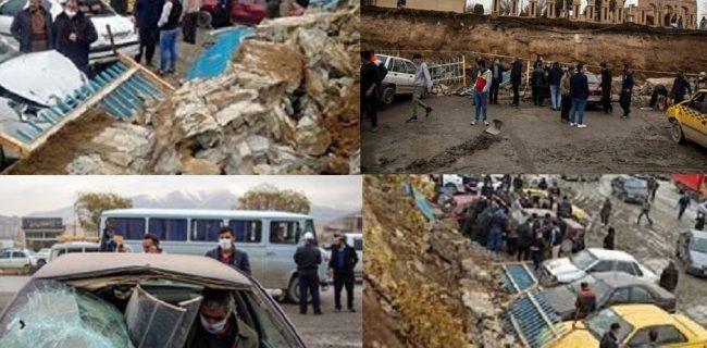 ریزش دیوار آرامستان بهشت محمدی سنندج و خسارت به ۱۲ خودرو سواری