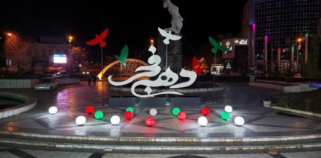 نصب المان های ویژه ایام دهه مبارک فجر در سنندج